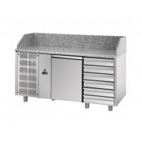 REFRIGERATED COUNTER FOR PIZZERIA GN 1/1 TD LINE - 150 cm 1 DOOR + 6 DRAWERS (MOT. SX)