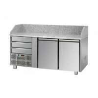 REFRIGERATED COUNTER FOR PIZZERIA GN 1/1 TD LINE - 150 cm 2 DOORS + 3 DRAWERS (MOT. SX)
