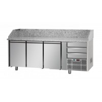 REFRIGERATED COUNTER FOR PIZZERIA GN 1/1 TD LINE - 200 cm 3 DOORS + 3 DRAWERS