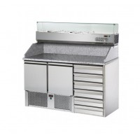 REFRIGERATED SALADETTE TD WITH GRANITE TOP AND LIFT + SHOWCASE - 2 DOORS + 6 DRAWERS