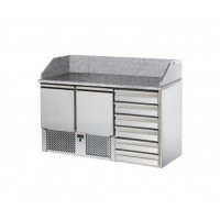 TD REFRIGERATED SALADETTE WITH GRANITE TOP AND LIFT - 2 DOORS + 6 DRAWERS
