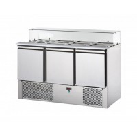 REFRIGERATED SALADETTE TD WITH TRAY AND FLAT GLASS HOLDER - 3 DOORS
