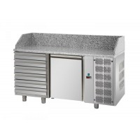 REFRIGERATED COUNTER FOR PIZZERIA GN 1/1 TD LINE - 150 cm 1 DOOR + 6 DRAWERS