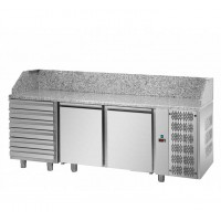 REFRIGERATED COUNTER FOR PIZZERIA GN 1/1 TD LINE - 200 cm 2 DOORS + 6 DRAWERS