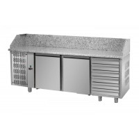 REFRIGERATED COUNTER FOR PIZZERIA GN 1/1 TD LINE - 200 cm 2 DOORS + 6 DRAWERS (MOT. SX)