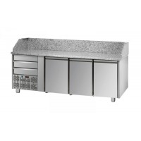 REFRIGERATED COUNTER FOR PIZZERIA GN 1/1 TD LINE - 200 cm 3 DOORS + 3 DRAWERS (MOT. SX)