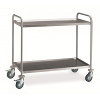 2 STAINLESS STEEL SERVICE TROLLEY 100x60 cm