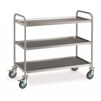 STAINLESS STEEL SERVICE TROLLEY 3 SHELVES 100x50 cm