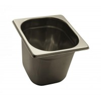 STAINLESS STEEL GASTRONORM BASIN GN 1/6 HEIGHT 15 cm