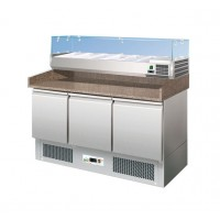 The REFRIGERATED COUNTER STATIC PIZZERIA 140 cm + SHOWCASE 6 GN 1/4
