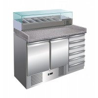 The REFRIGERATED COUNTER STATIC PIZZERIA 140 cm + SHOWCASE 6 GN 1/4 + chest of DRAWERS