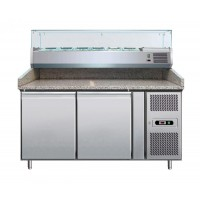 REFRIGERATED COUNTER-VENTILATED place FOR a PIZZERIA 150 cm + SHOWCASE 5 GN 1/3 + 1 GN 1/2