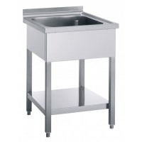 STAINLESS STEEL SINK OPEN WITHOUT DRIPPER 1 TANK - WIDTH 80 cm