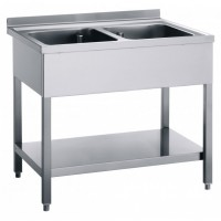 STAINLESS STEEL SINK OPEN WITHOUT DRIPBOARD 2 BOWLS - WIDTH 120 cm