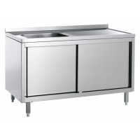 CLOSED STAINLESS STEEL SINK - RIGHT BATHTUB - WIDTH 140 cm