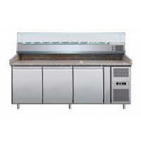 REFRIGERATED COUNTER-VENTILATED-FOR PIZZERIA 200 cm + SHOWCASE 9 GN 1/3