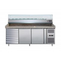 REFRIGERATED COUNTER-VENTILATED-FOR PIZZERIA 200 cm + SHOWCASE 9 GN 1/3 + chest of DRAWERS