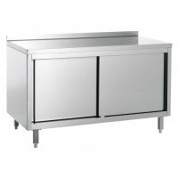 STAINLESS STEEL CABINET WORK TABLE WITH UPPER - WIDTH 180 cm