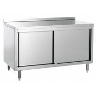 STAINLESS STEEL CABINET WORK TABLE WITH UPPER - WIDTH 200 cm