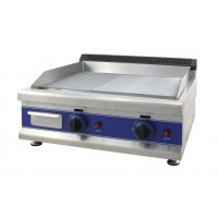 PLATE FRY-TOP, PROFESSIONAL GAS DOUBLE - STEEL TOP, SMOOTH AND RIBBED