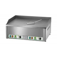 DOUBLE ELECTRIC FRY-TOP PLATE - SMOOTH-STRIPED STEEL TOP