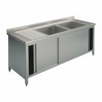 CLOSED STAINLESS STEEL SINK - 2 RIGHT TANKS - WIDTH 180 cm