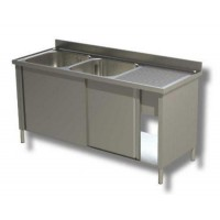 CLOSED STAINLESS STEEL SINK - 2 BOWLS LEFT - WIDTH 160 cm