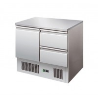 SALADETTE REFRIGERATED WITH PLAN IN STAINLESS STEEL + 2 DRAWERS