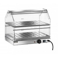 SHOWCASE BAR, HEATED STAINLESS steel 2-STOREY 50x35 cm