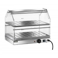 SHOWCASE BAR, HEATED STAINLESS steel 2-STOREY 85x35 cm