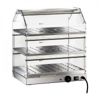 SHOWCASE BAR, HEATED STAINLESS steel 3 PLANS 85x35 cm