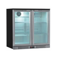 BACK BAR REFRIGERATED SHOWCASE WITH 2 HINGED DOORS WITH STAINLESS STEEL FINISH