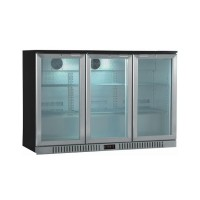 REFRIGERATED BACK BAR SHOWCASE WITH 3 HINGED DOORS WITH STAINLESS STEEL FINISH