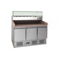 STATIC REFRIGERATED COUNTER FOR PIZZERIA FC 140 cm - 3 DOORS