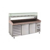 REFRIGERATED COUNTER FOR PIZZERIA FC VENTILATED 200 cm - 2 DOORS + DRAWER UNIT